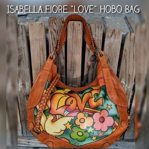 """Isabella Fiore Leather """"Love"""" Hobo Bag"""